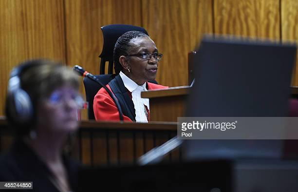 Judge Thokozile Masipa sits in the Pretoria High Court on September 11 in Pretoria, South Africa. South African Judge Thokosile Masipa is due to give...