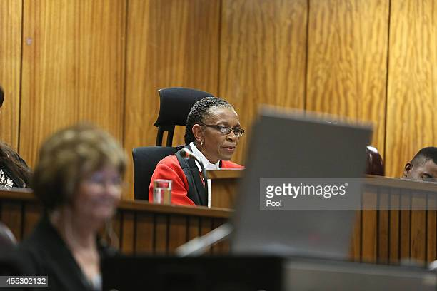 Judge Thokozile Masipa speaks during Oscar Pistorius' trial at the Pretoria High Court on September 12 in Pretoria, South Africa. South African Judge...
