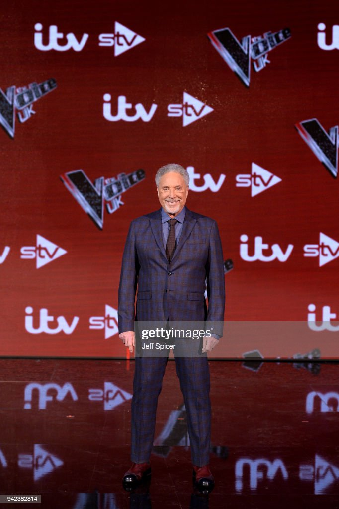 Judge Tom Jones attends the pre-final event for 'The Voice' at Elstree Studios on April 5, 2018 in Borehamwood, England.