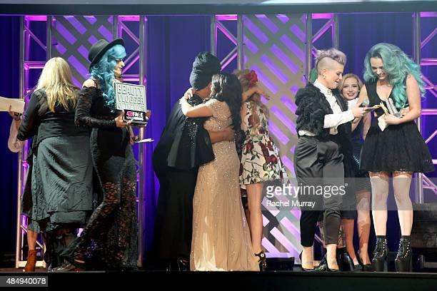 Judge Ve Neill emcee Charisma Star contestant Patrick Simondac judge Vegas Nay judge Bunny Meyer aka Grav3yardgirl host Kelly Osbourne contestant...