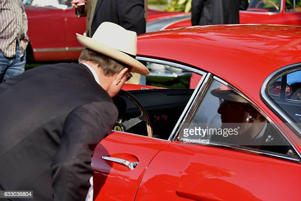 Judge views the interior of a 1963 Ferrari SpA 330 LMB race vehicle during the 26th Annual Cavallino Classic Event at the Breakers Hotel in Palm...