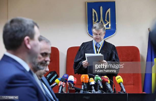 Judge Viktor Popras reads out the guilty verdict in the case of Olena Zaitseva and Hennadii Dronov the two drivers who caused the fatal accident at a...