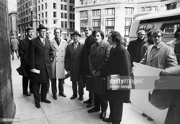 Judge W Arthur Garrity Jr second from left and a dozen lawyers involved in the racial imbalance case tour schools in Boston on Feb 6 1973 The lawyers...