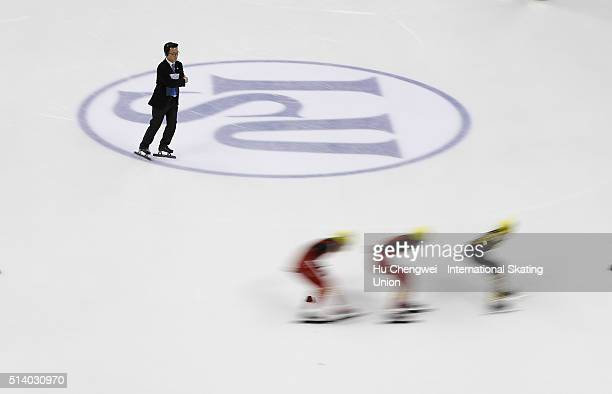 A judge watches during women's 1000m speed skating final at the Oriental Sports Center on day three of the ISU Shanghai Trophy event at on March 6...