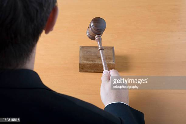 judge with gavel from behind - mallet hand tool stock pictures, royalty-free photos & images