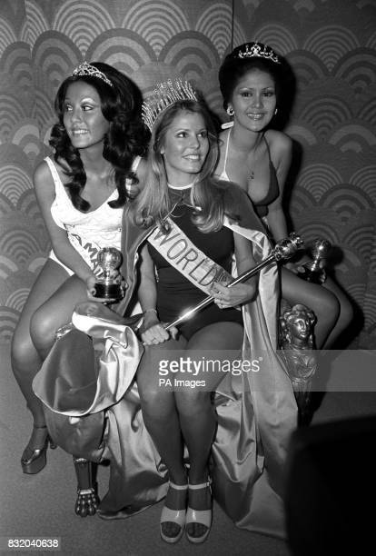 Judged the best three of the 54 beautiful girls competing in the Miss World contest at the Albert Hall were 1 Miss United States Marjorie Wallace 19...
