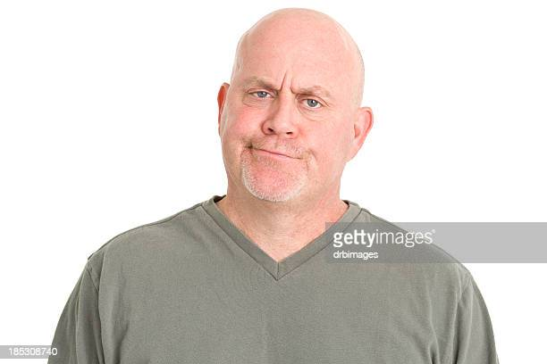 judgemental man portrait - fat bald men stock pictures, royalty-free photos & images