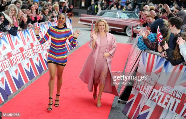 Judges Alesha Dixon and Amanda Holden arrive for the Britain's Got Talent Manchester auditions on February 9 2017 in Manchester United Kingdom