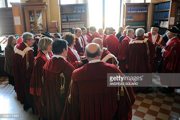 Judges and magistrates get ready prior a ceremony on the occasion of the opening of the judicial year on January 28 2011 at the court of cassation in...