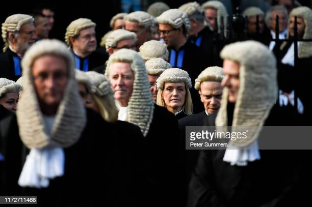 Judges and members of the legal profession leave Westminster Abbey following the Judge's Ceremony on October 1, 2019 in London, England. The legal...