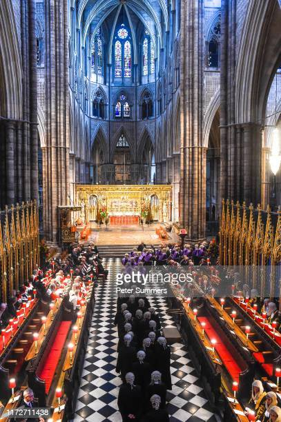 Judges and members of the legal profession take part in a procession inside Westminster Abbey during the Judge's Ceremony on October 1, 2019 in...