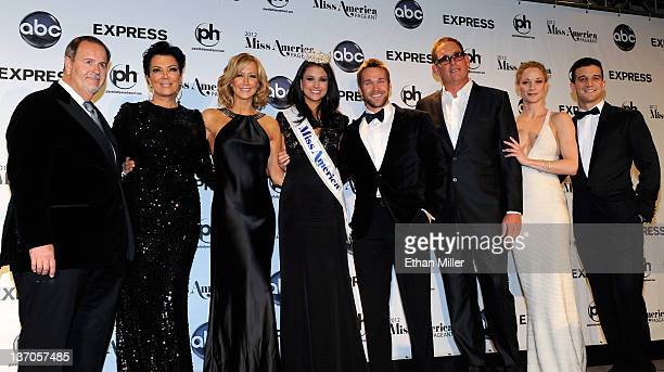 Judges appear with Laura Kaeppeler Miss Wisconsin during a news conference after she was named the new Miss America during the 2012 Miss America...