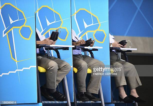 Judges are pictured during the women's 10m platform final at the diving event at the London 2012 Olympic Games on August 9 2012 in London AFP PHOTO /...