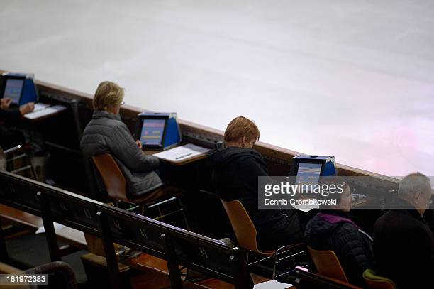 Judges are seen during day one of the ISU Nebelhorn Trophy at Eissportzentrum Oberstdorf on September 26 2013 in Oberstdorf Germany