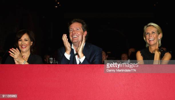 LONDON ENGLAND SEPTEMBER 24 Judges Arlene Phillips Piers Morgan and Ulrika Jonsson watch a performance at the Newsroom�s Got Talent event held in aid...