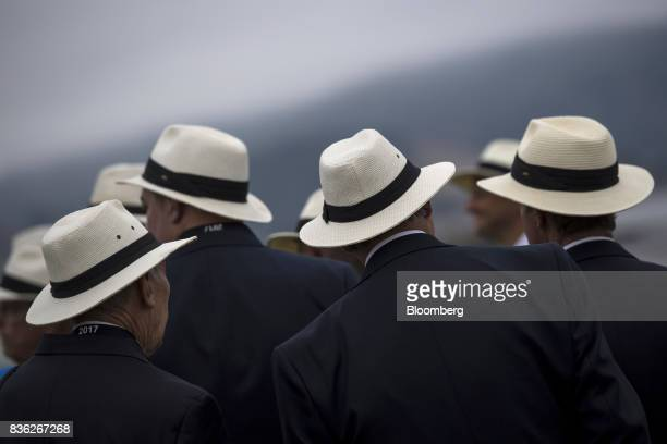 Judges arrive on the main show field during the 2017 Pebble Beach Concours d'Elegance in Pebble Beach California US on Sunday Aug 20 2017 Official...