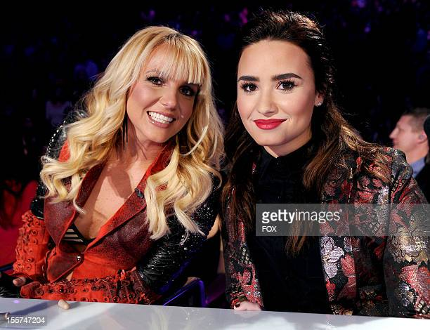 """Judges Britney Spears and Demi Lovato at FOX's """"The X Factor"""" Season 2 Top 12 Live Performance Show on November 7, 2012 in Hollywood, California."""