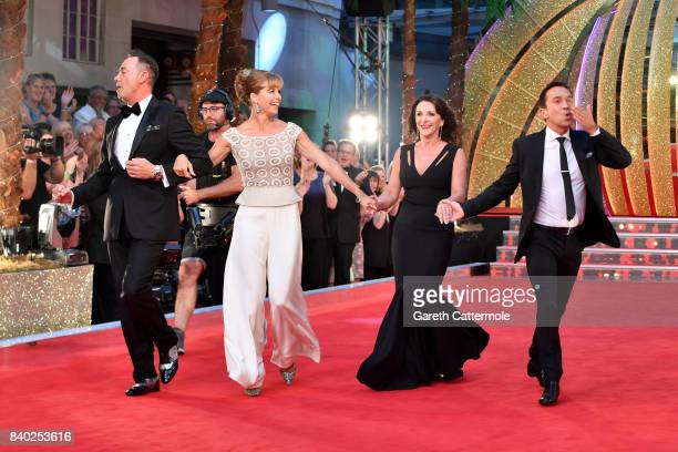Judges Craig RevelHorwood Darcey Bussell Bruno Tonioli and Shirley Ballas attend the 'Strictly Come Dancing 2017' red carpet launch at The Piazza on...