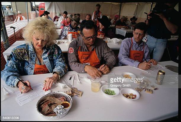 Judges critique entries at the annual World's Championship BarBQue Contest at the Houston Livestock Show and Rodeo