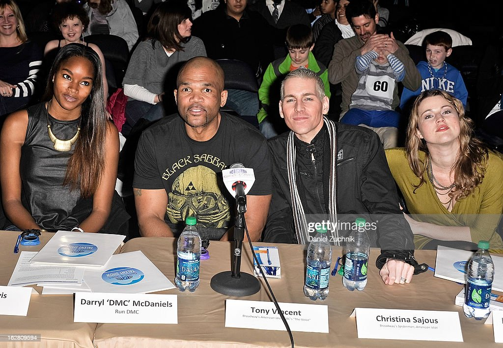 Judges Damaris Lewis, Darryl 'DMC' McDaniels, Tony Vincent and Rebecca Faulkenberry attend Garden of Dreams Foundation Talent Show Auditions at The Theater at Madison Square Garden on February 27, 2013 in New York City.
