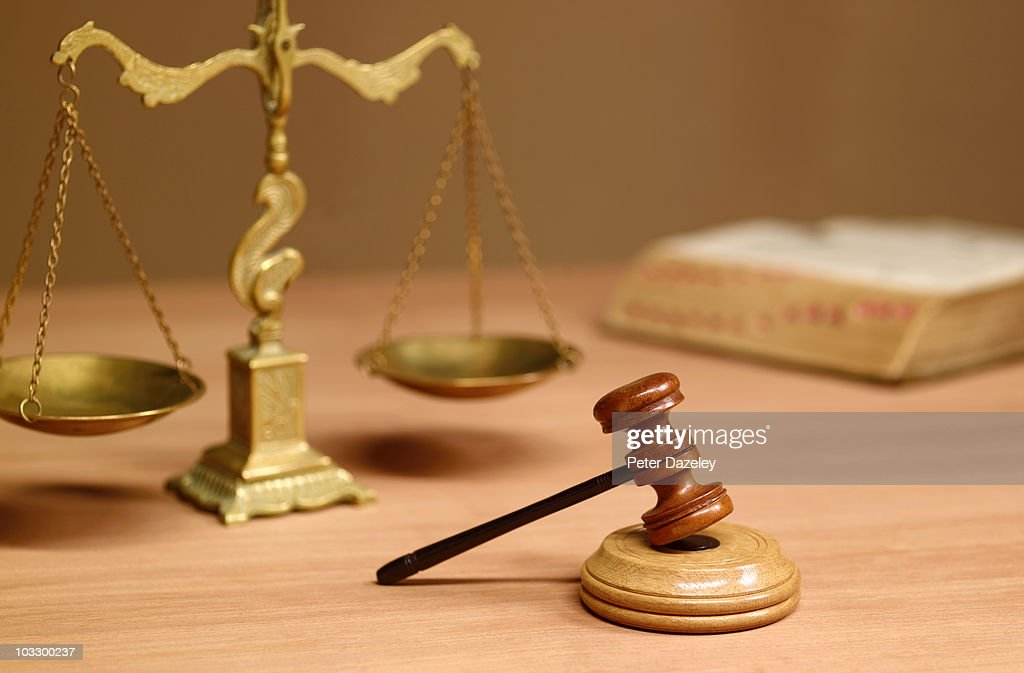 Judges desk in court room : Stock Photo