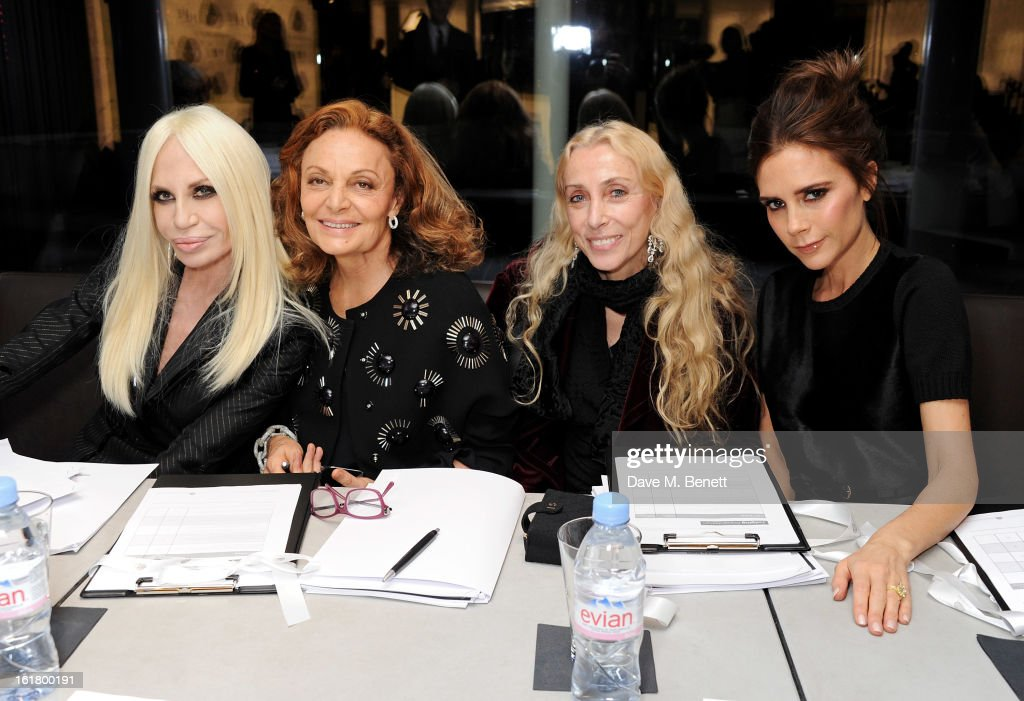 (EXCLUSIVE COVERAGE) (L to R) Judges Donatella Versace, Diane von Furstenberg, Franca Sozzani and Victoria Beckham attend the 2013 International Woolmark Prize Final at ME London on February 16, 2013 in London, England.