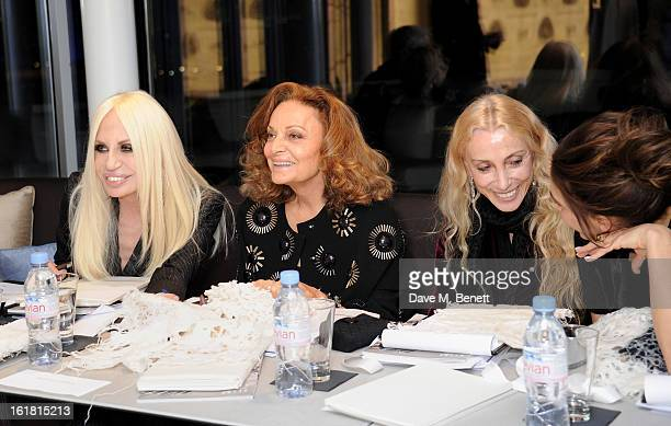 Judges Donatella Versace, Diane von Furstenberg, Franca Sozzani and Victoria Beckham attend the 2013 International Woolmark Prize Final at ME London...