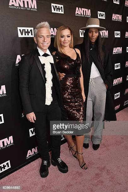 Judges Drew Elliott, Rita Ora and Law Roach attend the VH1 America's Next Top Model premiere party at Vandal on December 8, 2016 in New York City.