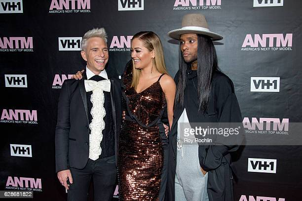 ANTM judges Drew Elliott Rita Ora and Law Roach attends VH1's 'America's Next Top Model' Premiere at Vandal on December 8 2016 in New York City
