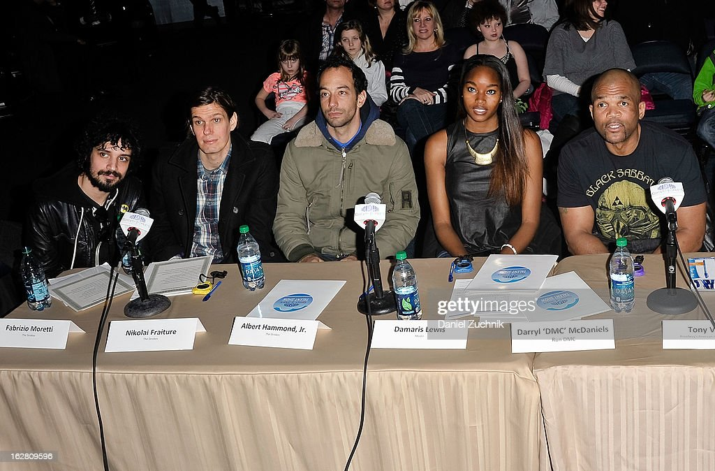 Judges Fabrizio Moretti, Nikolai Fraiture, Albert Hammond, Jr, Damaris Lewis and Darryl 'DMC' McDaniels attend Garden of Dreams Foundation Talent Show Auditions at The Theater at Madison Square Garden on February 27, 2013 in New York City.