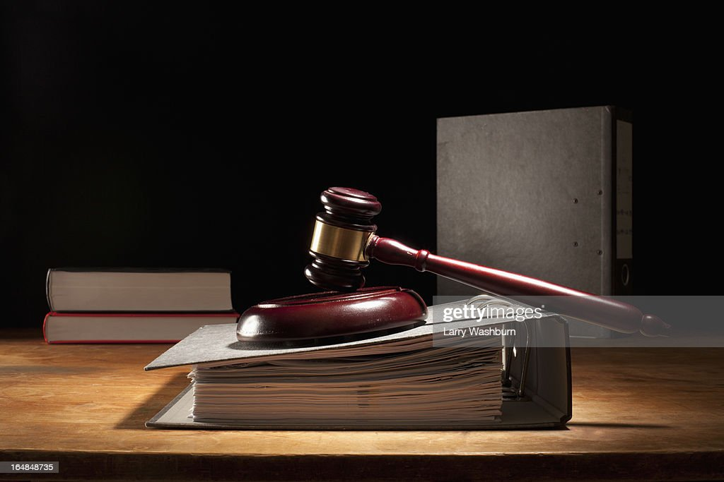 Judges gavel and legal files : Stock Photo