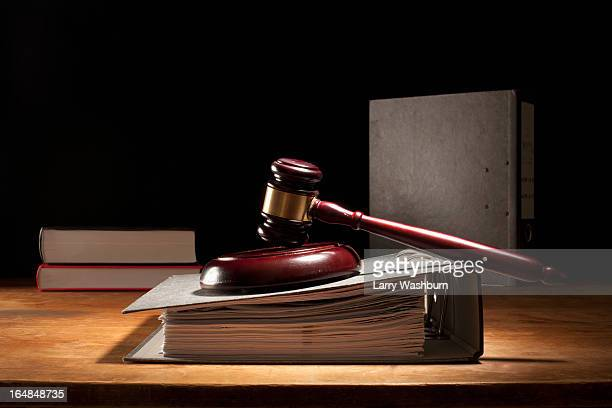 judges gavel and legal files - crime or recreational drug or prison or legal trial stock-fotos und bilder