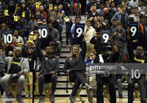 Judges give their scores during the 2017 McDonald's All American games POWERADE Jam Fest on March 27, 2017 at the Illinois Institute of Technology in...