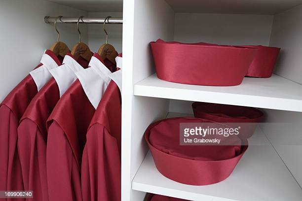 Judge's gown of the german Federal Constitutional Court Bundesverfassungsgerichts BVG hanging in an open wardrobe consisting of a red robe white...