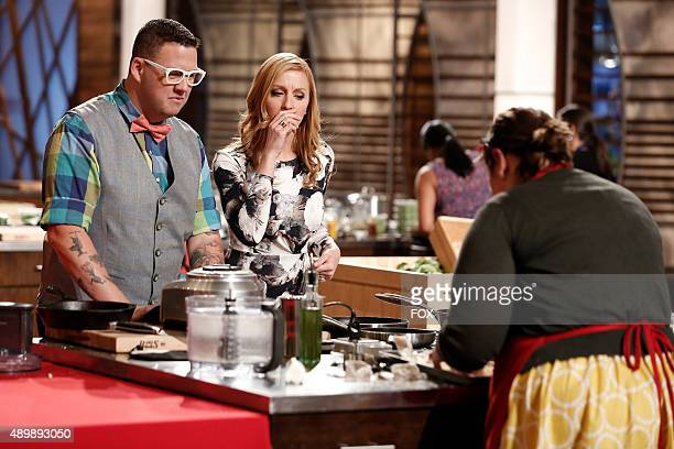 Judges Graham Elliot and Christina check in with contestant Katrina in the all-new Getting A-Head in the Competition episode of MASTERCHEF airing...
