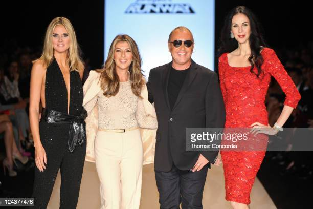 Judges Heidi Klum Nina Garcia Michael Kors and LÕWren Scott pose at the Project Runway 2012 fashion show during MercedesBenz Fashion Week at The...
