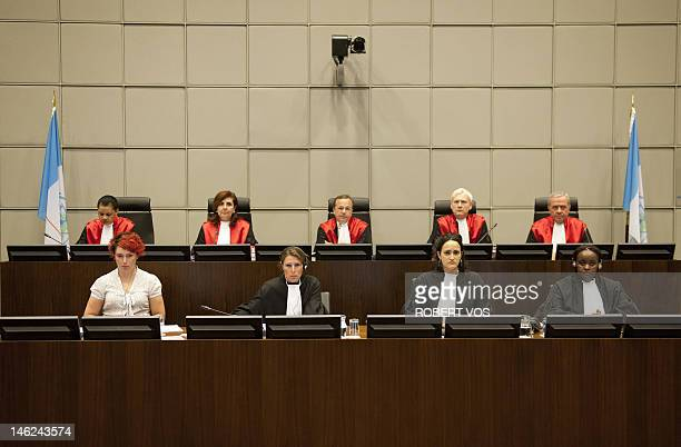 Judges I.Nosworthy, M. Braidi, Robert Roth, D. Re and W.Akoum of the UN Special Tribunal for Lebanon attend the opening of the public hearing in the...