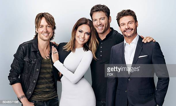 AMERICAN IDOL judges Keith Urban Jennifer Lopez and Harry Connick Jr and Ryan Seacrest AMERICAN IDOL PREMIERES IN January on FOX