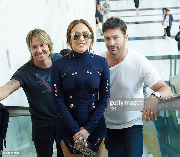 Judges Keith Urban Jennifer Lopez and Harry Connick Jr at the taping of American Idol XV on Aug 15 in Philadelphia PA