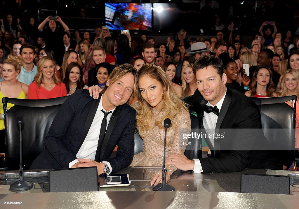 Judges Keith Urban, Jennifer Lopez and Harry Connick Jr. onstage at FOX's American Idol Season 15 Finale on April 7, 2016 at the Dolby Theatre in Hollywood, California.