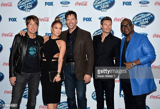 """Judges Keith Urban, Jennifer Lopez, Harry Connick, Jr. Host Ryan Seacrest and Randy Jackson attend FOX's """"American Idol XIII"""" finalists party at Fig..."""