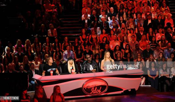 "Judges Keith Urban, Nicki Minaj, Randy Jackson and Mariah Carey on FOX's ""American Idol"" Season 12 Top 10 To 10 Live Performance Show on March 13,..."