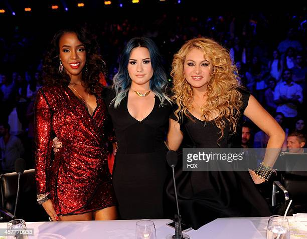 """Judges Kelly Rowland, Demi Lovato and Paulina Rubio on FOX's """"The X Factor"""" Season 3 Top 3 Live Finale Performance Show on December 18, 2013 in..."""