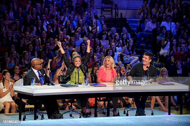 FACTOR Judges LA Reid Demi Lovato Britney Spears and Simon Cowell in partone of the two night season premiere of THE X FACTOR airing Wednesday Sep 12...