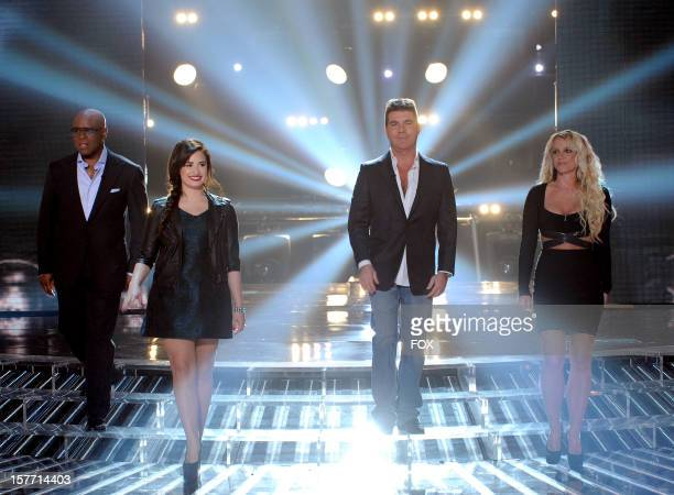 Judges LA Reid Demi Lovato Simon Cowell and Britney Spears onstage at FOX's The X Factor Season 2 Top 6 Live Performance Show on December 5 2012 in...