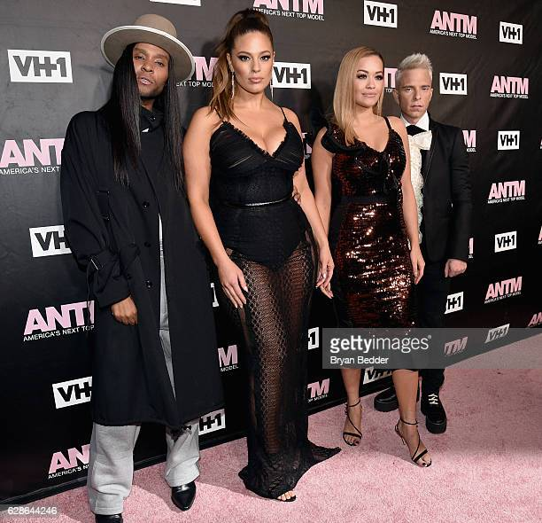 Judges Law Roach, Ashley Graham, Rita Ora and Drew Elliott attend the VH1 America's Next Top Model premiere party at Vandal on December 8, 2016 in...