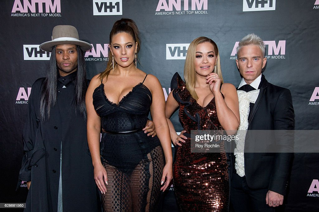 ANTM judges Law Roach, Ashley Graham, Rita Ora and Drew Elliott attend VH1's 'America's Next Top Model' Premiere at Vandal on December 8, 2016 in New York City.