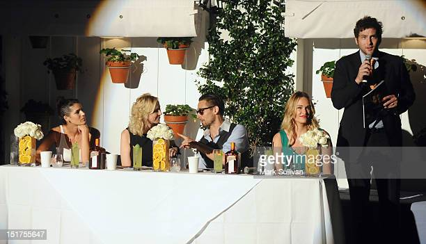 Judges Lindsay Nader Alison Miller Eric Alperin and Ashlan Gorse with MC Joe Brooks at the Los Angeles Confidential and Remy Cointreau Master MixOff...