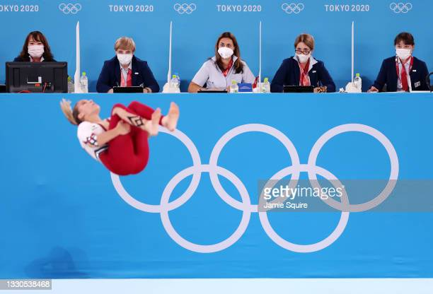 Judges look on as Elisabeth Seitz of Team Germany competes in the floor exercise during Women's Qualification on day two of the Tokyo 2020 Olympic...