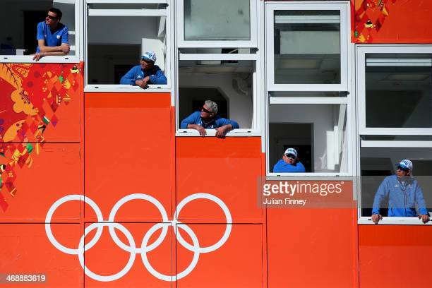 Judges look on during the Nordic Combined Individual Gundersen Normal Hill and 10km Cross Country on day 5 of the Sochi 2014 Winter Olympics at the...